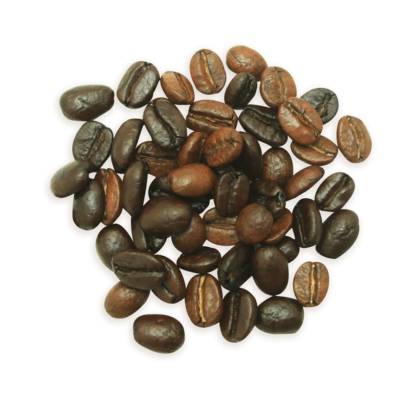 A cluster of Aromatic Arabic coffee beans, a darker roast.