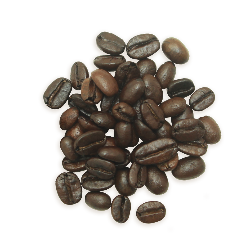 A cluster of Ether coffee beans, a darker roast.