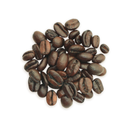 A cluster of Jacob's Wonderbar coffee beans, a darker roast.