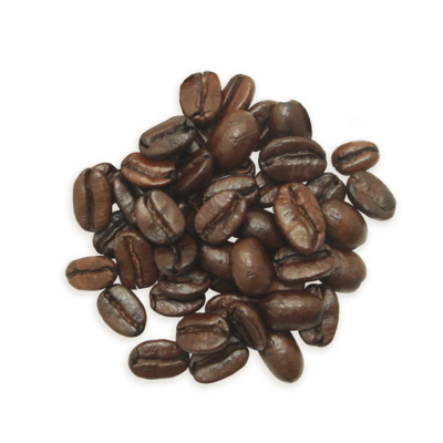 A cluster of Julie's Ultimate coffee beans, a darker roast.