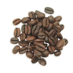 A cluster of Decaf Colombia coffee beans, a darker roast.