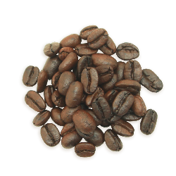 A cluster of Decaf Ethiopian coffee beans, a lighter roast.
