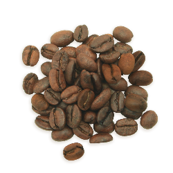 A cluster of Decaf Sumatra coffee beans, a medium roast.