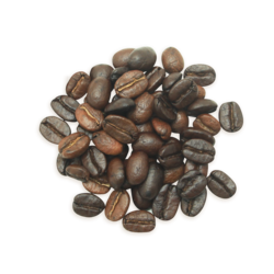 A cluster of Ambrosia coffee beans, a lighter roast.