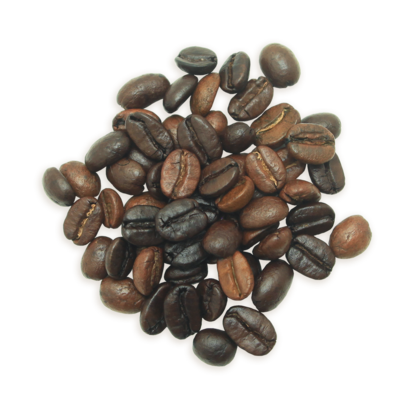 A cluster of Canopy of Heaven coffee beans, a lighter roast.