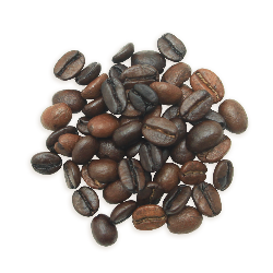 A cluster of Dancing Water coffee beans, a lighter roast.