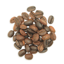 A cluster of Greater Alarm coffee beans, a lighter roast.