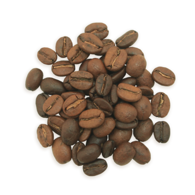 A cluster of New Manhattan coffee beans, a lighter roast.