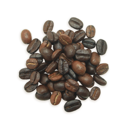 A cluster of Philharmonic coffee beans, a medium roast.