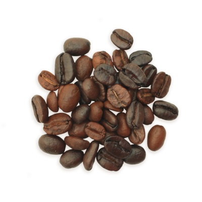 A cluster of Philtered Soul coffee beans, a medium roast.