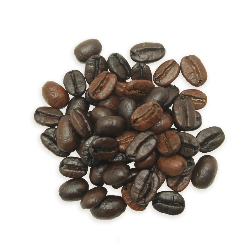 A cluster of Silken Splendor coffee beans, a medium roast.