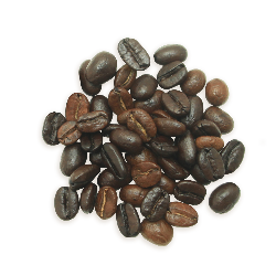 A cluster of Tesora coffee beans, a medium roast.