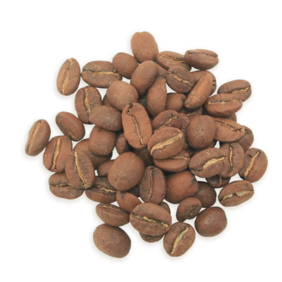 A cluster of Hazelnut coffee beans, a lighter roast.