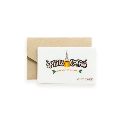Philz Coffee gift card with the logo on the front and a blank envelope