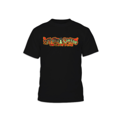 Black t-shirt with the Philz Coffee, One Cup At A Time logo in red and green on the front