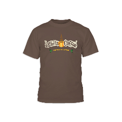Brown t-shirt with the Philz Coffee, One Cup At A Time logo on the front