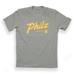 Grey t-shirt with yellow Philz Coffee logo