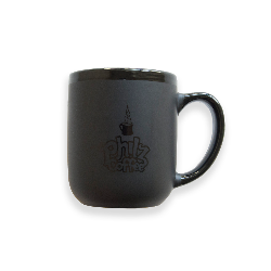 Black mug with Philz Coffee logo printed in black on the front