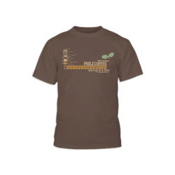 Brown t-shirt with an illustration of making coffee with coffee cups. Included is San Francisco, Philz Coffee, one cup at a time printed on the front