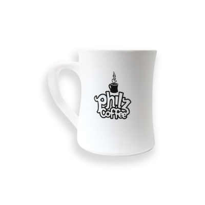"White mug with ""Philz Coffee"" printed in black on the front."