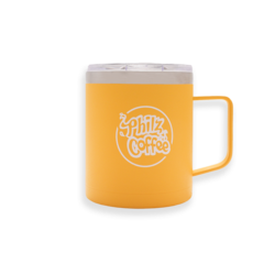 """Yellow camper mug with """"Philz Coffee"""" printed in white on the front."""