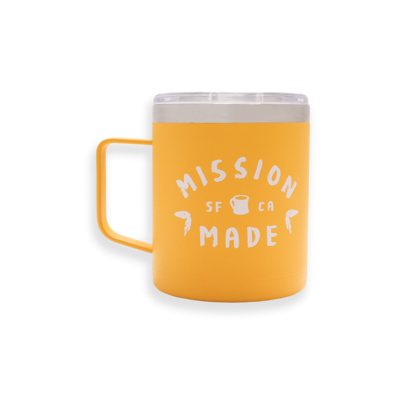 """Yellow camper mug with """"Mission Made"""" printed in white on the back."""