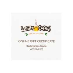 Example of the online gift certificate with redemption code and Philz Coffee, one cup at a time logo