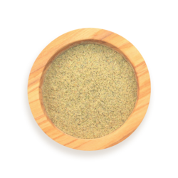 A scoop of cardamom in a wood spice jar