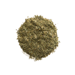 A scoop of yerba mate tea leaves