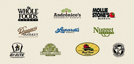 Logo of various Wholesale partners - Whole Foods, Andronico's Community Markets, Mollie Stone's, Draeger's Market, Lupardi's Markets, Nugget Markets, Bi-Rite, Woodlands Market, Real Food Company